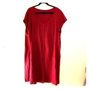 Eileen Fischer Burgundy Linen Dress, XL
